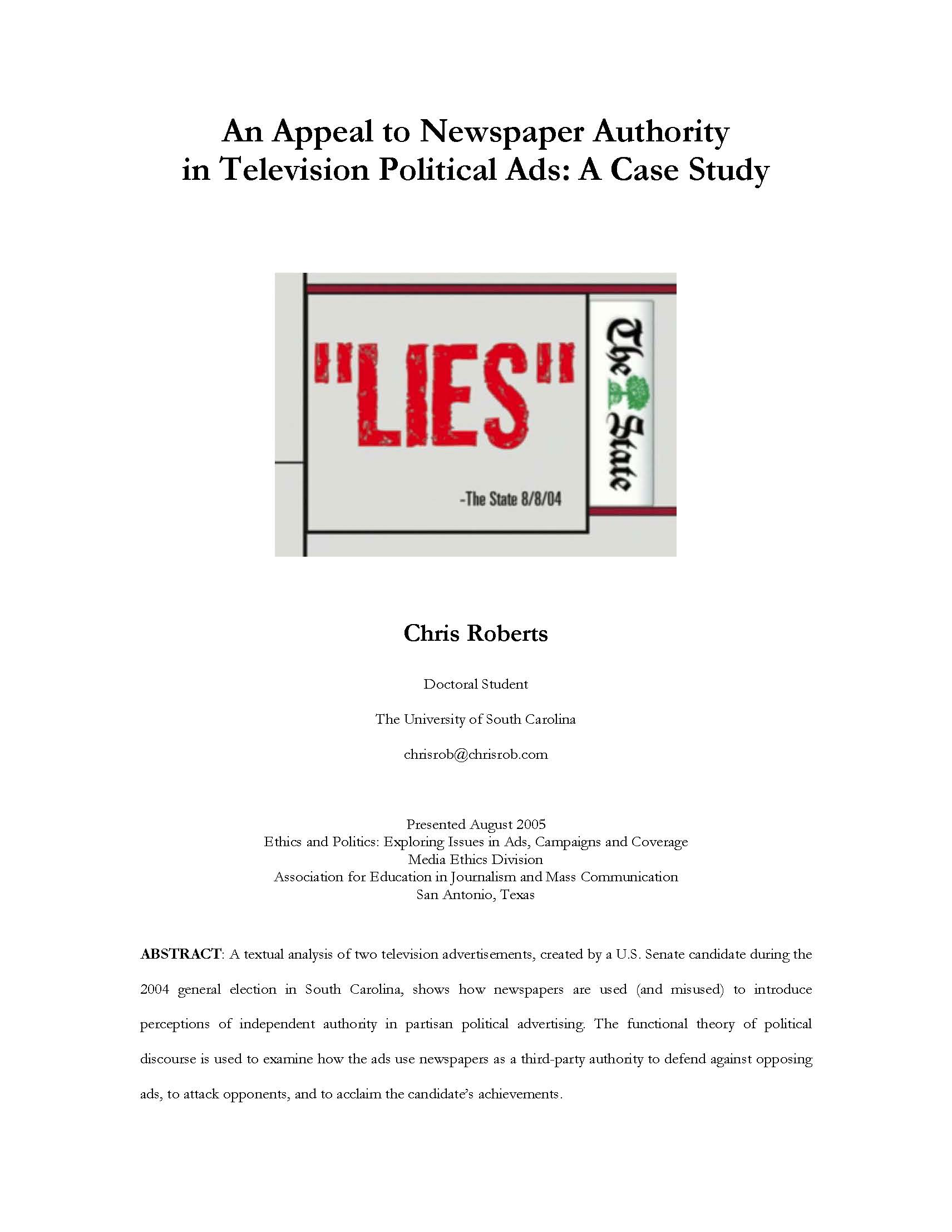 An Appeal to Newspaper Authority  in Television Political Ads: A Case Study